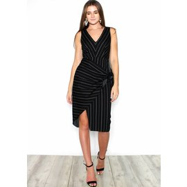 LUCINDA BLACK STRIPED DRESS
