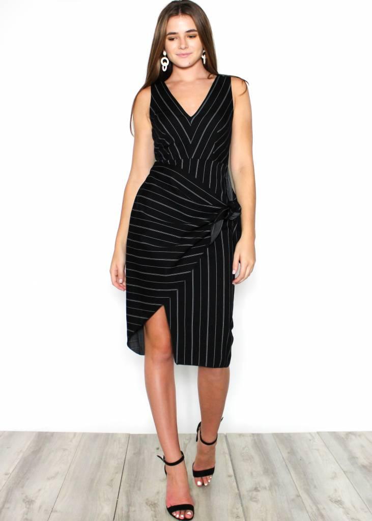 LUCINDA BLACK STRIPED DRESS