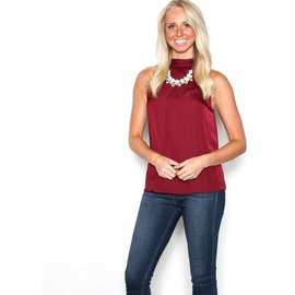 ARIEL BURGUNDY SLEEVELESS BLOUSE