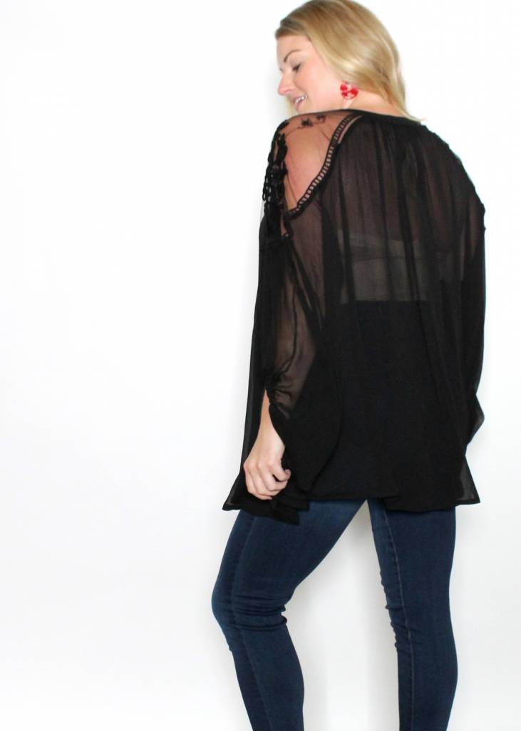 ALEXIS BLACK EMBROIDERED TOP
