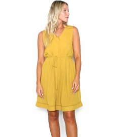 MADELINE MUSTARD PLEATED DRESS