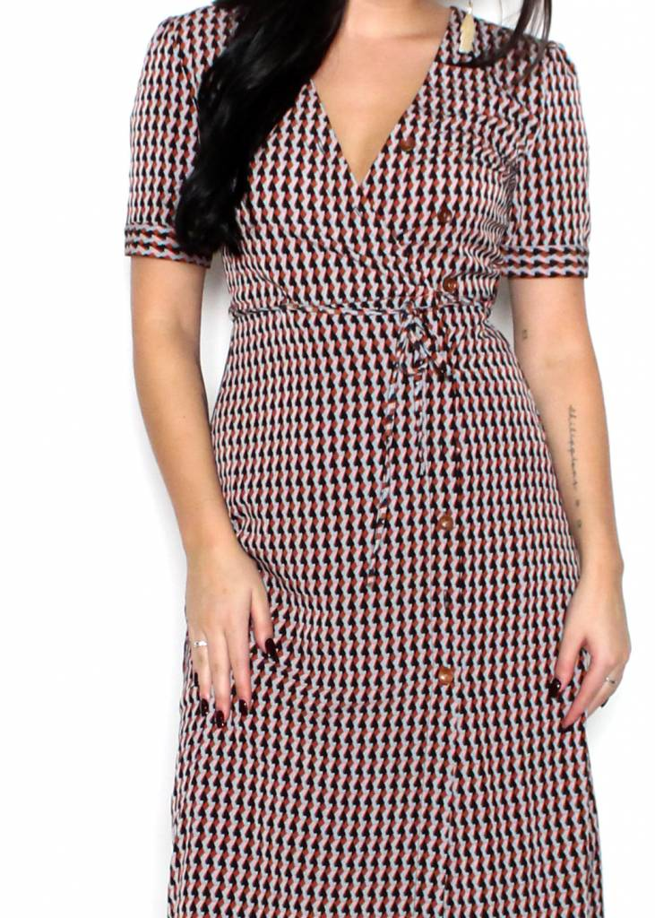 STASSI GEOMETRIC PRINT DRESS