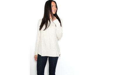 MAGGIE STRIPED COWL NECK SWEATER