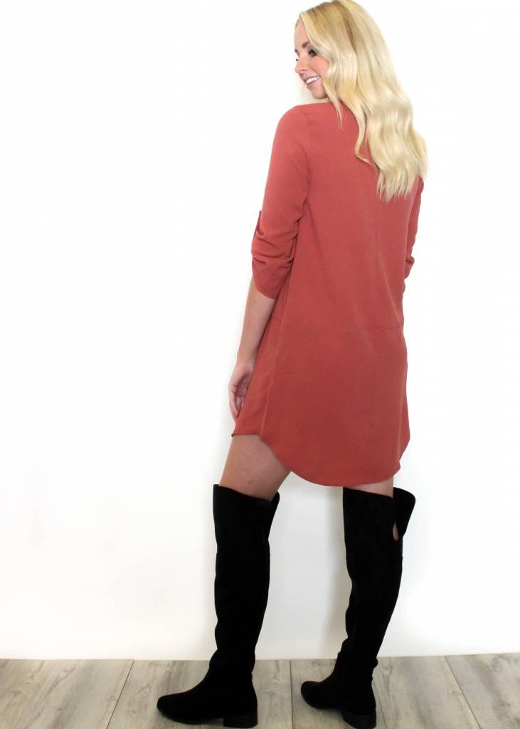 KELSEY TERRACOTTA SHIFT DRESS