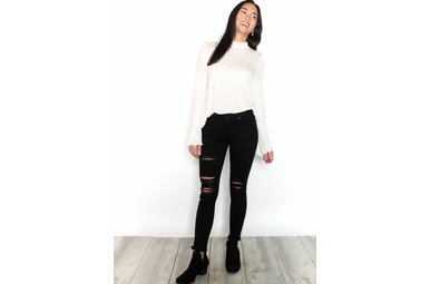VIENNA BLACK DISTRESSED SKINNY JEANS