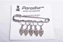 Image of Paradise Charming Stitch Markers Silver Owls