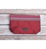Della Q Small Zip Pouch 1112-1, 4 Red Stripe