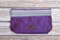 Della Q Small Zip Pouch 1112-1, 18 Purple Stripe