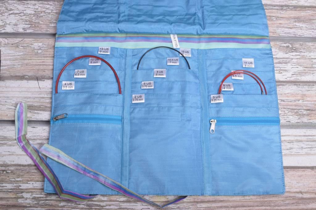 Della Q Tri-Fold Circular Needle Case 1145-1, 23 Ocean Stripe
