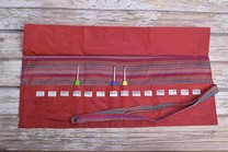 Image of Della Q Crochet Hook Roll Case 168-2, 4 Red Stripe