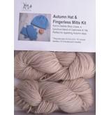 Autumn Hat & Fingerless Mitts Kit Lhasa 5 Camel