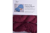 Autumn Hat & Fingerless Mitts Kit Lhasa 11 Berry