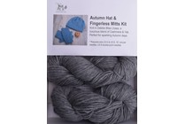 Autumn Hat & Fingerless Mitts Kit Lhasa 3 Pewter
