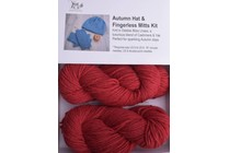 Autumn Hat & Fingerless Mitts Kit Lhasa 10 Cherry
