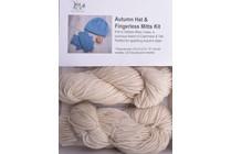 Autumn Hat & Fingerless Mitts Kit Lhasa 1 Ecru