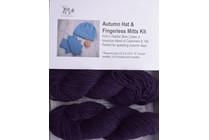 Autumn Hat & Fingerless Mitts Kit Lhasa 12 Plum