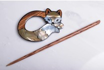 Image of Paradise Shawl Pin Inlaid Shell/ Wood Fox SP41207