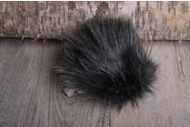 Faux Fur Pom Pom Black Wolf