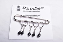Image of Paradise Charming Stitch Markers Black Crystal