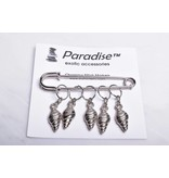 Image of Paradise Charming Stitch Markers Silver Shell