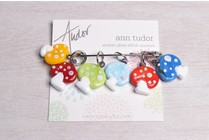 Image of Ann Tudor Stitch Markers, Mushrooms, Small