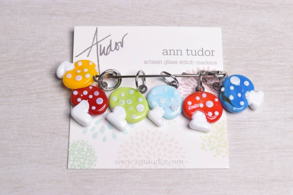 Image of Ann Tudor Stitch Markers, Mushrooms, Small