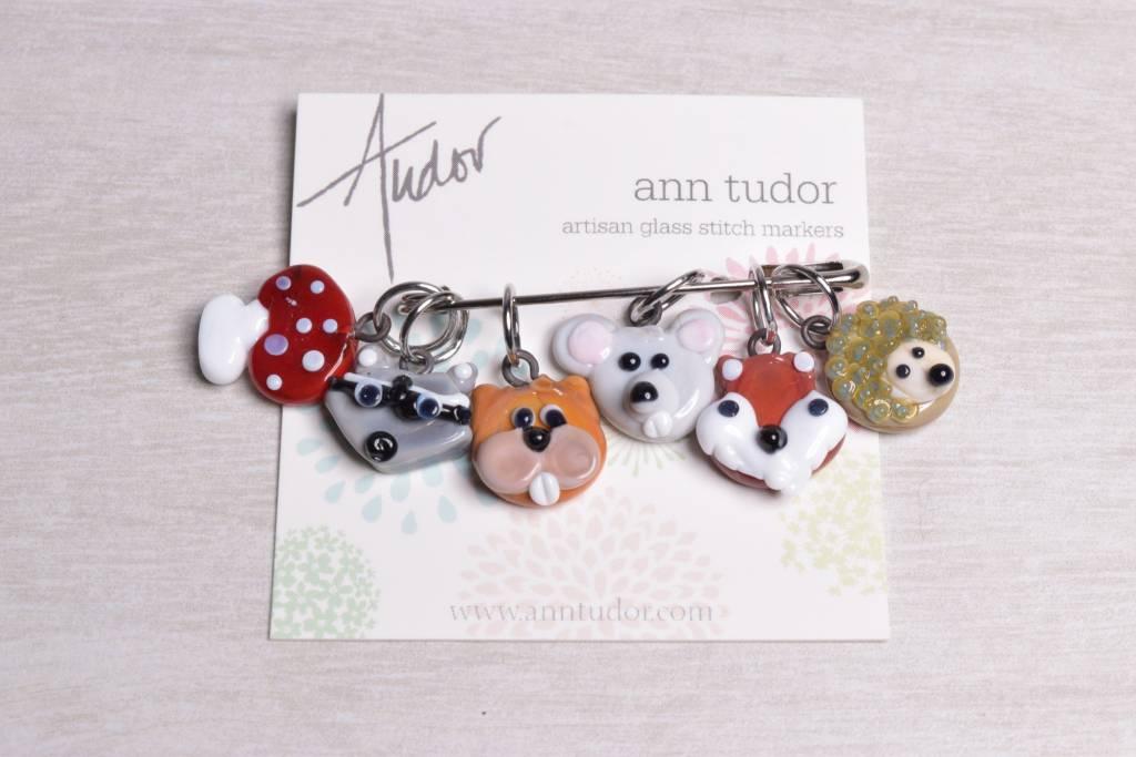 Image of Ann Tudor Stitch Markers, Woodland Animals, Small