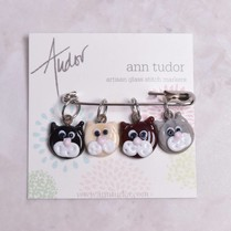 Image of Ann Tudor Stitch Markers, Cats, Small