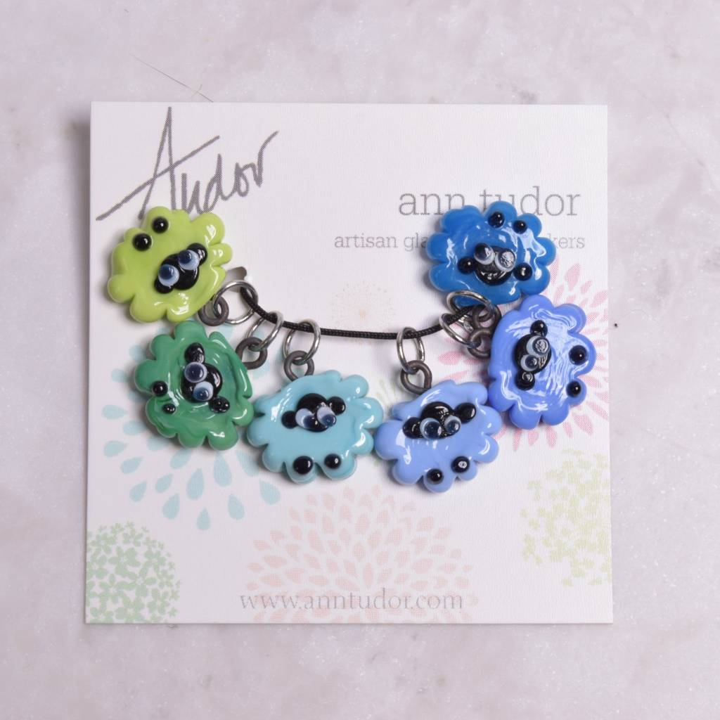 Image of Ann Tudor Stitch Markers, Sheep Flock Blue/Green, Extra Small