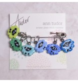 Image of Ann Tudor Stitch Markers, Sheep Flock Blue/Green, Small