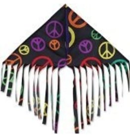 "PREMIER KITE BLACK PEACE FUN FLYER 32"" FRINGE KITE"