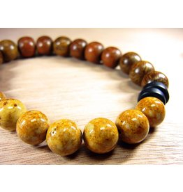 My Gigi's House Beads Bracelet - Robles Wood & Brown Stone With Black Obsidian