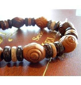 My Gigi's House Beads Bracelet - Olive Wood, Coconut Shell & Wood Beads