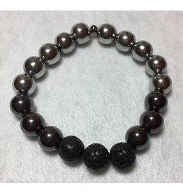 My Gigi's House Beads Bracelet - Hematite & Lava Beads
