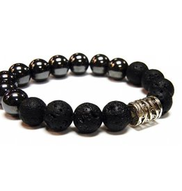 My Gigi's House Beads Bracelet - Hematite & Lava With Focal Bead 12mm