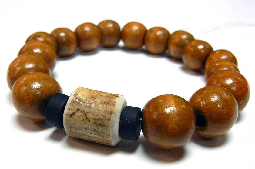 My Gigi S House Beads Bracelet Deer Antler Wood Onyx