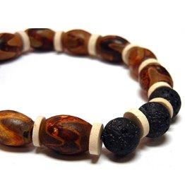 My Gigi's House Beads Bracelet - Etched Agate, Lava & Vintage Ceramic