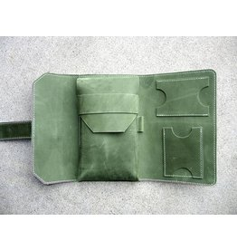 Lombardos Leather Army Green With White Stitching Cigar Case