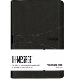 THE MESSAGE PERSONAL SIZE BIBLE BLACK LEATHER