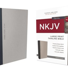 NKJV Large Print Thinline Bible - Gray/Blue Hardcover