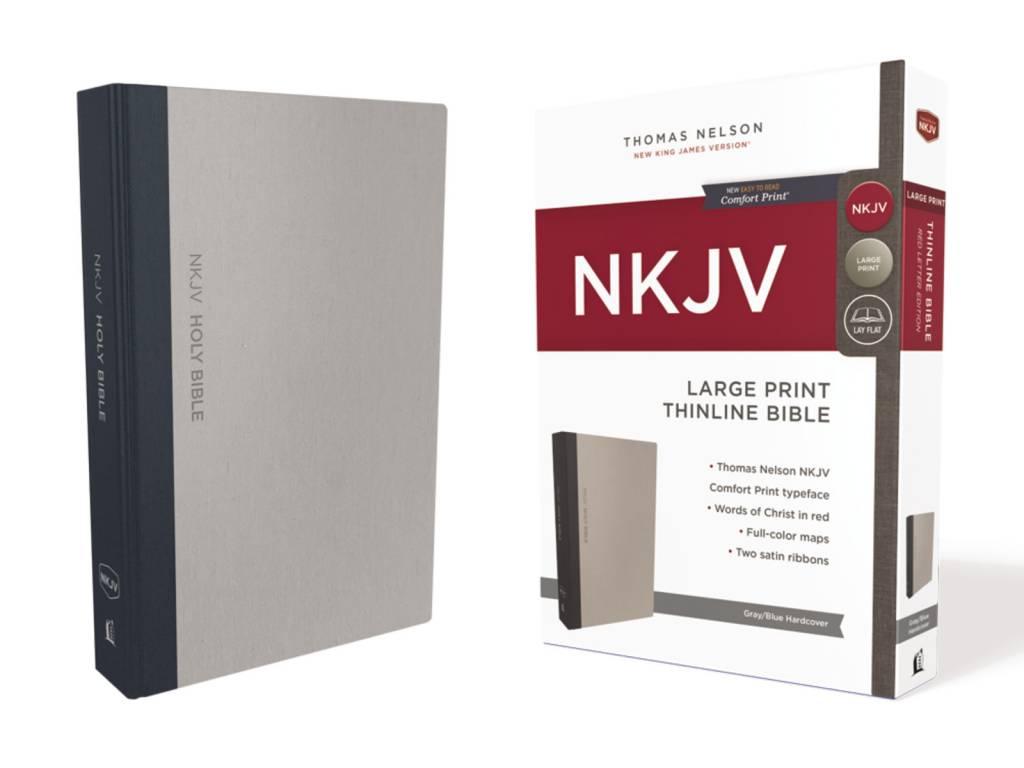 NKJV Large Print Thinline Bible - Gray/Blue Hardcover