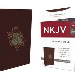 NKJV Large Print Thinline Bible - Mahogany Leathersoft