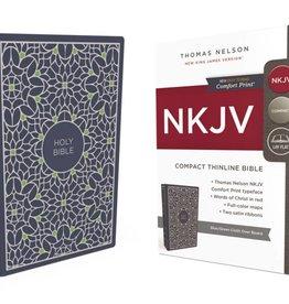 NKJV Large Print Thinline Bible - Blue/Green Cloth Over Board