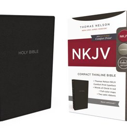 NKJV Compact Thinline Bible - Black Leathersoft
