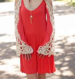 Cold Shoulder Dress with Crochet Detail Sleeves