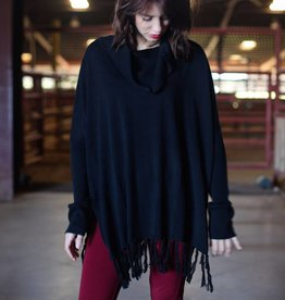 Black Swan Cowl Neck Sweater Poncho w/ Fringe Warm Taupe or Black