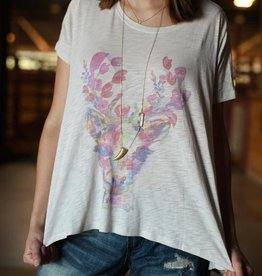 PUNCHYS Floral Deer Flowy Graphic Top