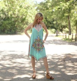 Turquoise Imperial Dynasty Halter Dress