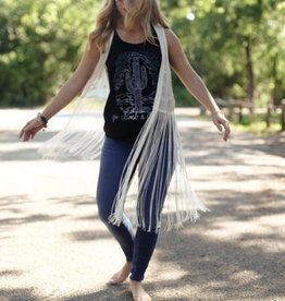 White Vest with Fringe and Stitched Floral Embroidery Detail