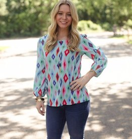 Bright Colored Diamond Print Blouse with Three Quarter Sleeved